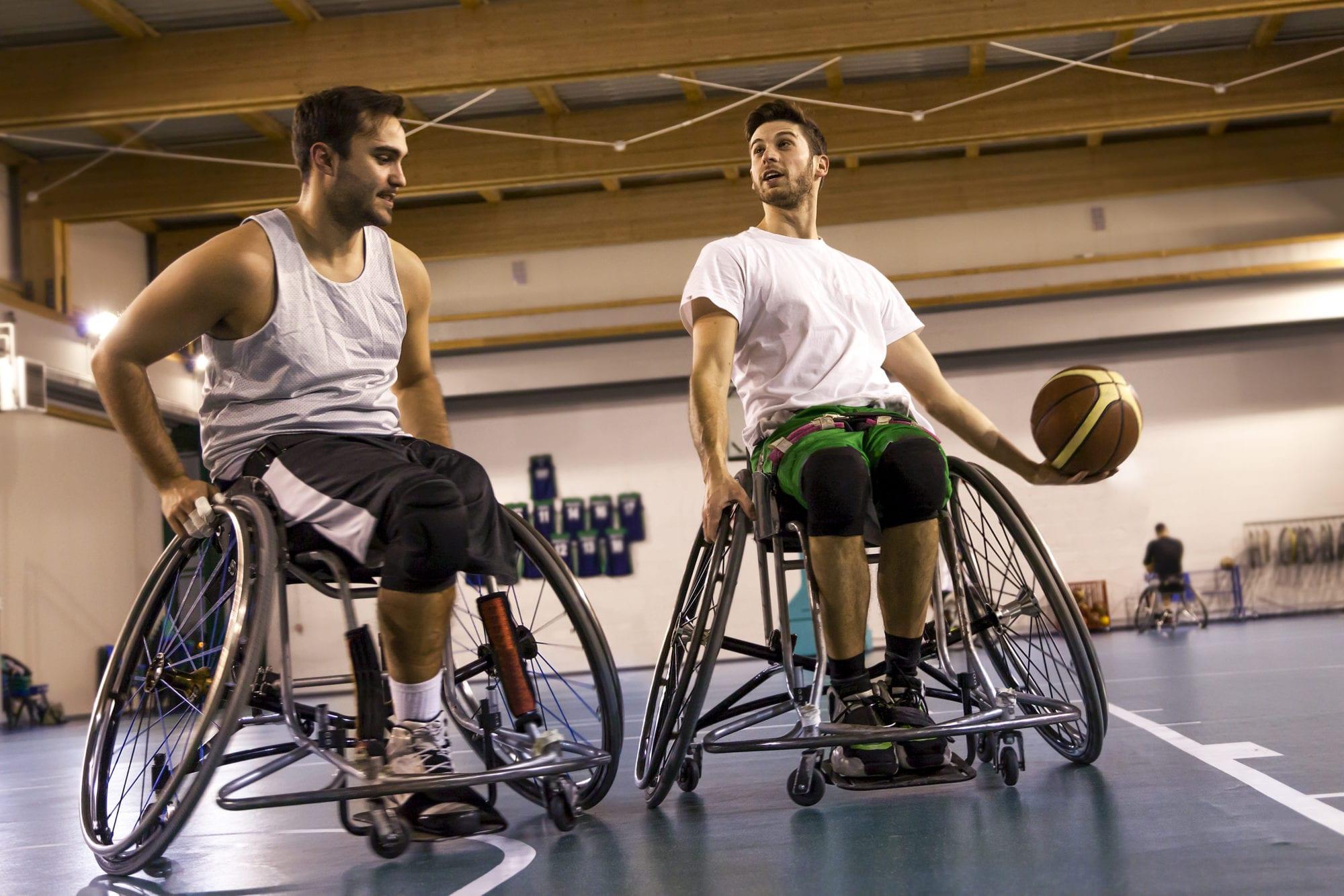Disabled Sports: Men playing wheelchair basketball at SADI